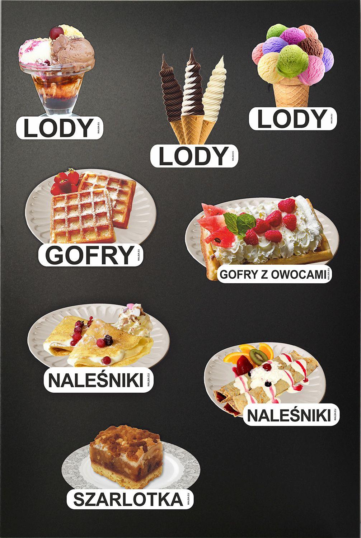 Obrazki deserów - lody, gofry, ciastka, naleśniki - w formie naklejek na potykacze reklamowe i tablice kredowe - WALBA