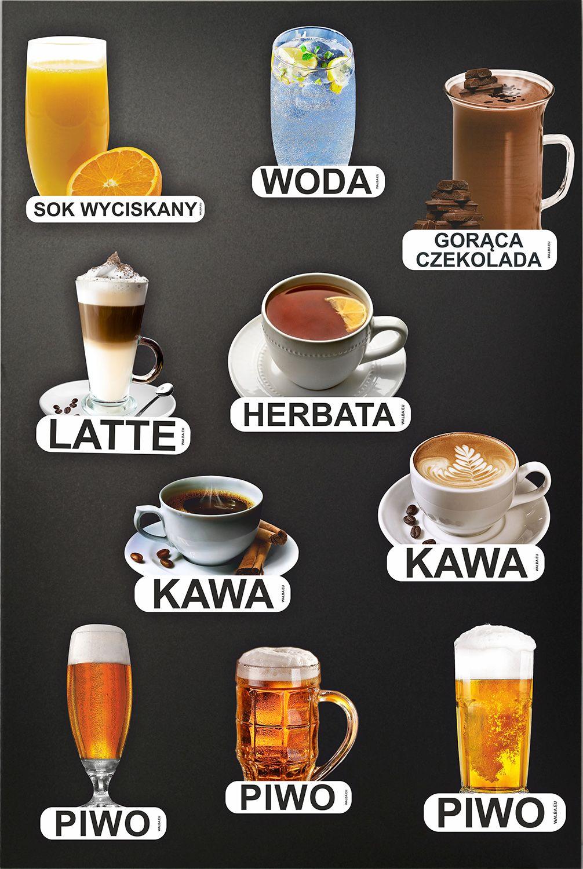 Obrazki napojów zimnych i gorących w formie naklejek na potykacze reklamowe i tablice kredowe - WALBA