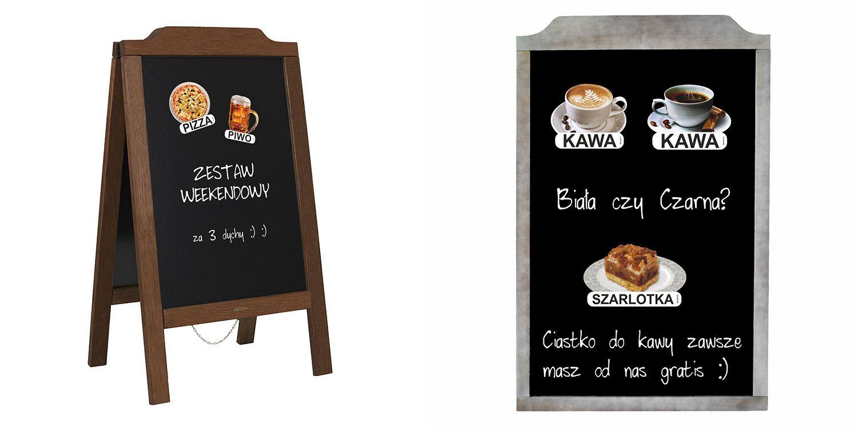 Obrazki dań, napojów i deserów przyklejone do potykaczy reklamowych i tablic kredowych - WALBA