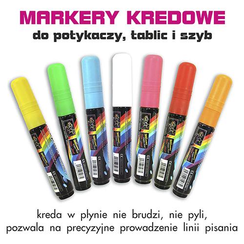 MARKERY KREDOWE - zmywalne pisaki do potykaczy i tablic kredowych oraz szyb. WALBA