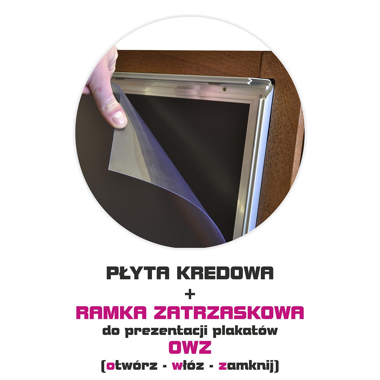 Drewniany potykacz kredowy z ramką zatrzaskową i folią antyfefleksyją do prezentacji plakatów - WALBA